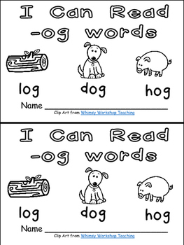 -og Word Family Emergent Reader Kindergarten with Pocket