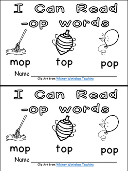 -op Word Family Emergent Reader Kindergarten with Pocket