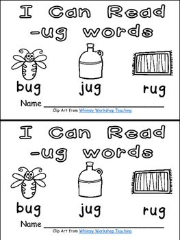 -ug Word Family Emergent Reader Kindergarten with Pocket
