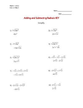1.3 Day 2 Adding/Subtracting Radical Expressions Worksheet