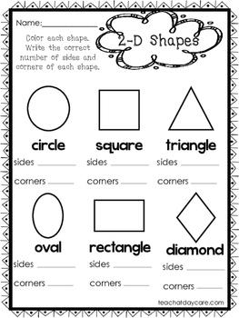 10 2-D and 3-D Shapes Worksheets. Preschool-1st Grade Math