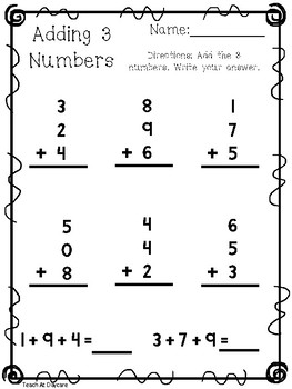 10 Adding 3 Numbers Worksheets. KDG-1st Grade Math. by