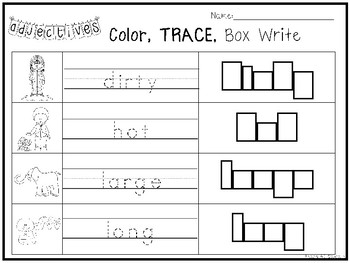10 Adjectives Color And Writing Worksheets Kindergarten
