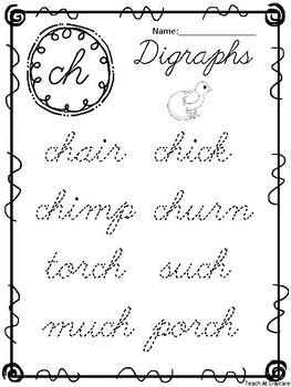 10 Cursive Digraph Tracing Worksheets. Kindergarten-2nd