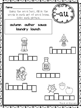 10 Diphthongs Box Writing Worksheets. Kindergarten-1st