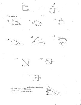 10 Double Sided Special Right Triangles w/Quizzes Radicals