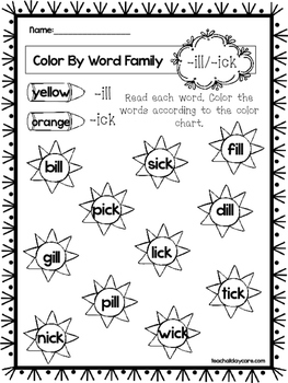 10 Four Letter Word Family Words Worksheets. 1st Grade
