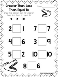 10 Greater Than, Less Than, Equal Draw the Sign Worksheets