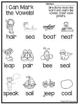 10 Long Vowel Practice Woksheets. Kindergarten-2nd Grade