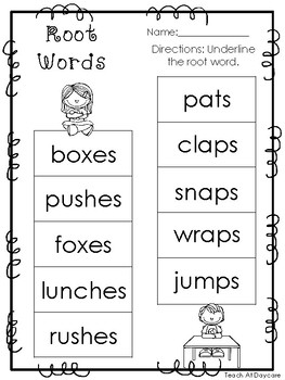 10 Root Words Printable Worksheets in PDF file. KDG-2nd