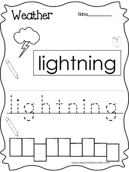 10 Weather themed printable worksheets. Color, Read, Trace