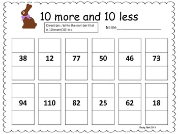 10 more/10 less Easter Common Core Math Practice by