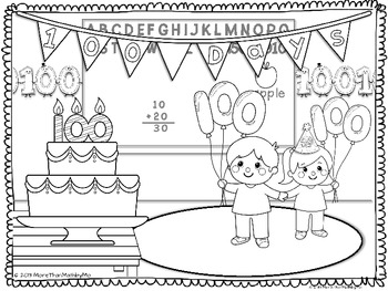 100th Day Coloring Activities-FREEBIE by More than Math by