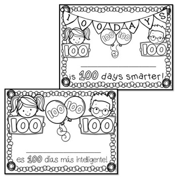 100 Days of School Badges & Certificate (Spanish and