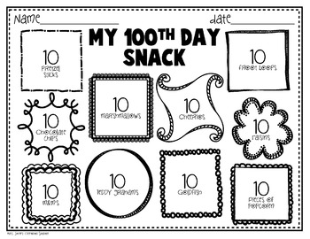 100th Day of School Freebie {Printables} by Mrs Jones