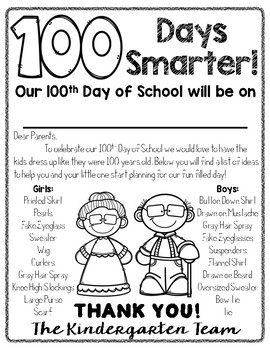 EDITABLE 100th Day of School Letter by Red Headed Teacher