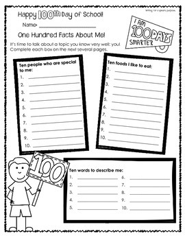 100th Day of School Worksheets for Older Students by Patti