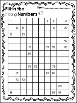 120 Chart Fill-In Puzzle Fun by The Real World First Grade