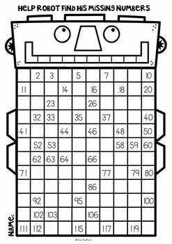 120 Chart Number Robot Worksheets Booklet by From the Pond