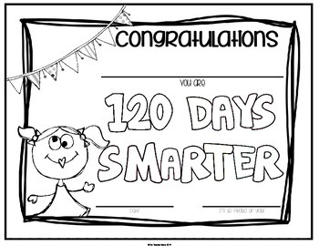 120th Day of School Certificate (Editable) by The Teacher