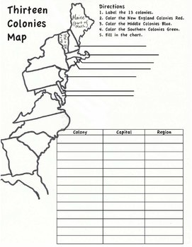 13 Colonies Map Worksheet By Hester History  Teachers Pay Teachers