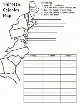 13 Colonies Map Worksheet By Hester History  Teachers Pay Teachers