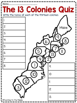 13 Colonies Map and Map Quiz (2 versions) by Teaching to