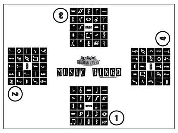 18x24 (4) Way Music Notation Bingo MrMikesMusicMats