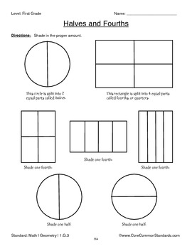 1.G.3 First Grade Common Core Worksheets, Activity, and