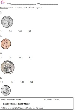1.MD.3 Money Identifying Coins First Grade Math Common