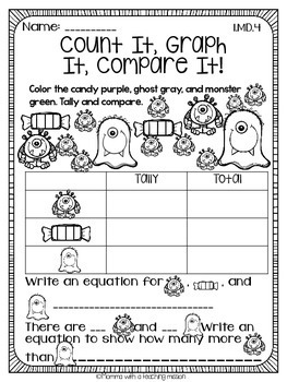 1.MD.4 Graphing NO Prep Printables by Momma with a