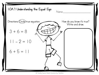 1.OA.7 Equal Sign Addition and Subtraction First Grade