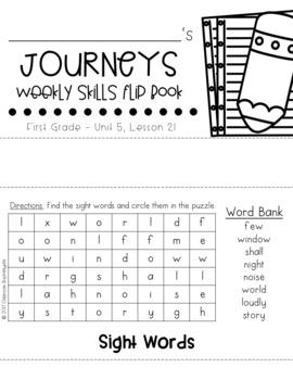 1st Grade Journeys Unit 5 Weekly Skills Flip books by