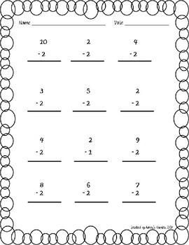 1st Grade Math Fluency Subtraction 0-10 Worksheets (1.OA.C