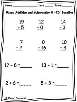 1st Grade Mixed Addition and Subtraction through 20