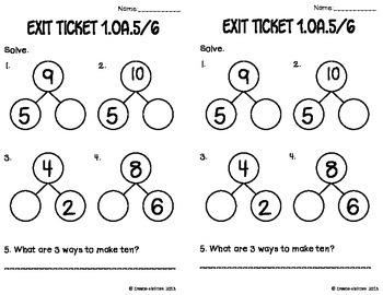Addition and Subtraction Math Tasks and Exit Tickets by