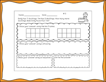 1st Grade Math Center Subtraction Word Problems by
