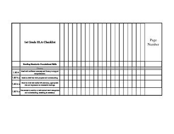 1st grade ELA Common Core Standards Checklist by