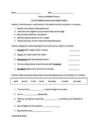 1st or 2nd grade Pronouns Worksheet or Assessment-Common ...