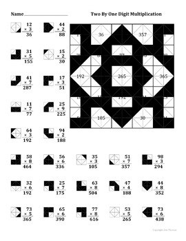2 By 1 Digit Multiplication Color Worksheet by Aric Thomas