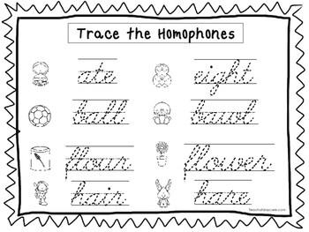 2 Cursive Trace the Homophones Worksheets. KDG-2nd Grade