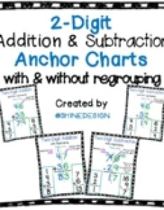 digit addition  subtraction anchor charts with regrouping and without also teaching resources teachers rh teacherspayteachers