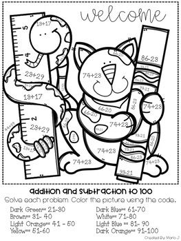 2 Digit Addition & Subtraction Color-By-Number Back to