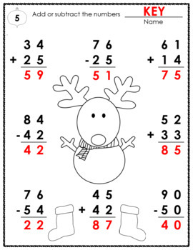 Worksheets • 2-Digit Addition & Subtraction without