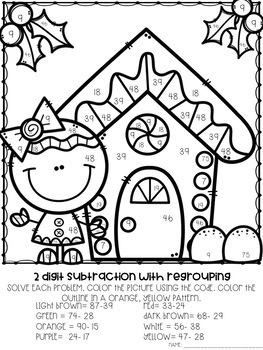2 Digit Addition and Subtraction Color-By-Number Christmas