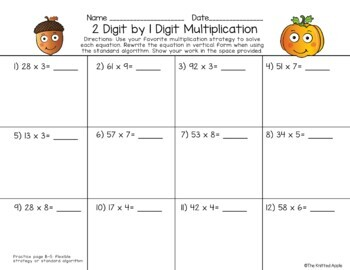 2 Digit by 1 Digit Multiplication using Partial Products