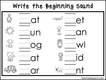 2 Write the Beginning Sounds Worksheets. Preschool-KDG