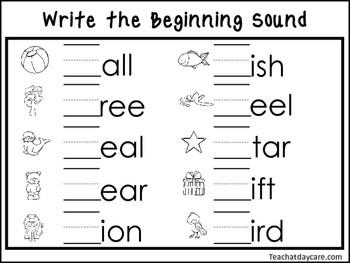 2 Write The Beginning Sounds Worksheets Preschool Kdg