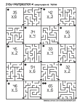 2 by 1 Multiplication Maze Printable by Marvel Math by