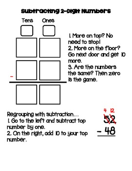 2 digit Addition Subtraction regrouping activity pack w